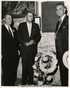 From left, Senators Ralph Yarborough, John F. Kennedy, and Lyndon Johnson in the Shrine.