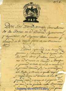 First page of a commission to Jose Maria Larios, dated January 25, 1814.