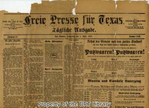 Top half of the front page, Freie Presse fur Texas, March 9, 1893.