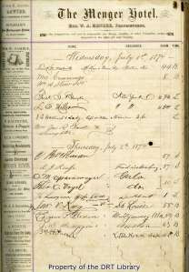 A page from the register featuring guest signatures, their place of residence, which room they stayed in, and the time that they arrived.