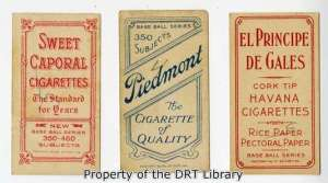 Examples of cigarette and tobacco advertisements on the back of baseball cards.