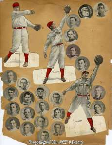 Cutouts of players and circular baseball cards.