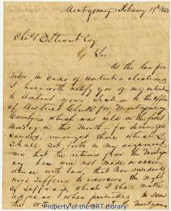 First page of P. R. Lilly's 1842 letter to Charles B. Stewart.