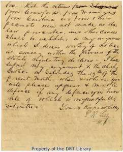 Second page of P. R. Lilly's 1842 letter to Charles B. Stewart.