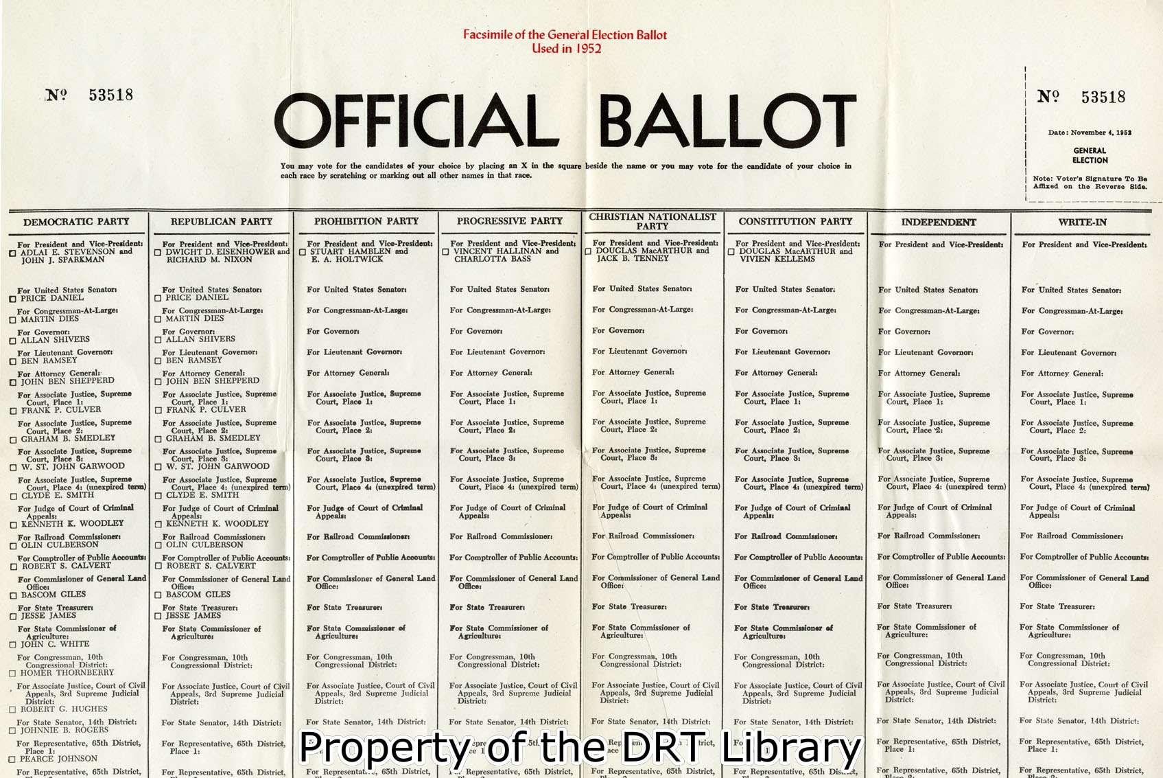 Facsimile ballot for the 1952 election from the handbook for texas