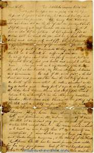 First page of Daniel Cloud's letter to his brother, December 26, 1835.