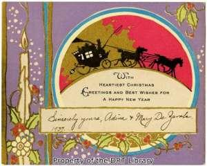 A 1937 single-sided Christmas card from DRT members and sisters Adina and Mary De Zavala.