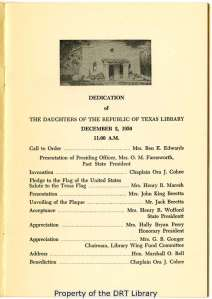 "Speakers at the ceremony, as listed in the ""Dedication Program,"" December 2, 1950."