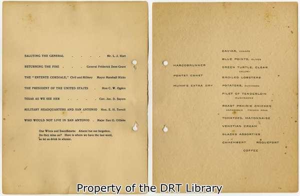Program and menu at the banquet.