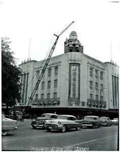 Santa Claus on the roof of Joske's department store, downtown San Antonio, circa 1950-1970. (SCElicson.08.001)