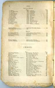 Second page of the table of contents, American Almanac and Repository of Useful Knowledge.