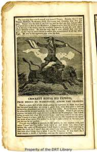 """Crockett Riding his Express,"" from an 1847 Davy Crockett's Almanac."