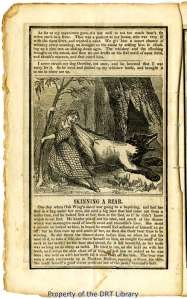 """Skinning a Bear,"" in Davy Crockett's Almanac, 1847."