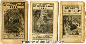 Front covers for the 1839, 1840, and 1847 Crockett Almanacs.