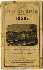 Cover of the New Orleans Almanac, 1858.