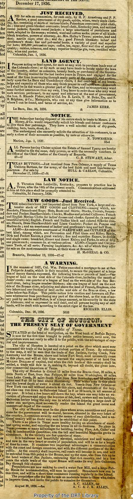 Detail of page four of the Telegraph and Texas Register from January 11, 1837.