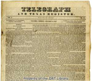Top of the first page of the Telegraph and Texas Register from January 6, 1837.