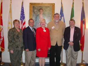From left to right, Leslie Stapleton, DRT Library director; Dr. Paul Spellman, speaker; Connie Impelman, DRT Library Committee Chairman; Dr. Stephen L. Hardin, speaker; Mike Cox, speaker.