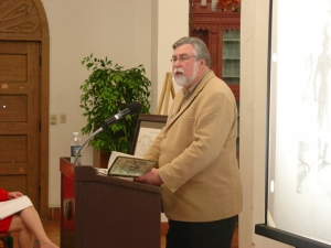 Dr. Stephen L. Hardin regailing the audience of the less than pleasant elements of life in early Houston.