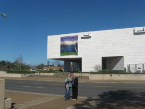 Leslie Stapleton, Library Director and Connie Impelman, Library Committee Chairman in front of the Stark Museum in Orange.
