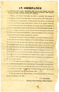 "A broadside publicizing the February 1 ordinance declaring that Texas ""is a sovereign State and that her citizens and people are absolved from all allegiance to the United States or the Government thereof."""