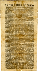 "In his March 16 broadside ""to the people of Texas,"" governor Houston emphatically stated ""I protest in the name of the people of Texas against all the acts and doings of this [secession] convention, and declare them null and void!"" That same day, the convention removed Houston from office."