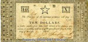 The star note was issued by an act on June 12, 1837 under President Sam Houston.