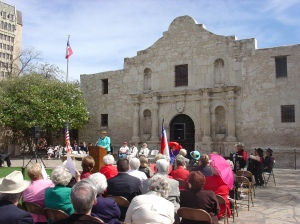 Leslie Stapleton, DRT Library Director, speaks at a ceremony on March 2, 2009 to commemorate Texas Independence Day.