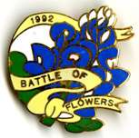 The Battle of Flowers Association's 1992 commemorative pin featuring bluebonnets.