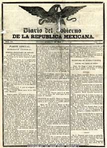 Front page of the Diario del Gobierno de la Republica Mexicana from March 21, 1836.