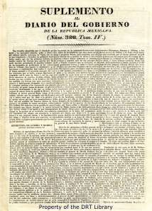 "First page of the ""Suplemento al Diario del Gobierno de la Republica Mexicana"" for March 24, 1836."
