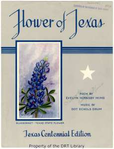 "Sheet music cover for the 1936 song ""Flower of Texas,"" poem by Evelyn Hornsby Mims and music by Dot Echols Orum."