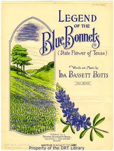 "Cover art to sheet music for Ida Bassett Botts's song ""Legend of the Blue Bonnets (State Flower of Texas)"" (1936)."