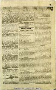 "The second page of the Telegraph and Texas Register from March 24, 1836. The article about the Alamo begins on the right-hand column under the heading ""More Particulars Respecting the Fall of the Alamo."""