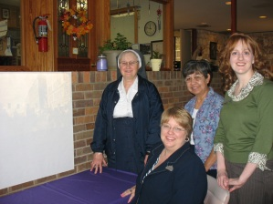 From left to right, Sister Michael Brandt, OSB, Executive Director of Benedictine Ministries; Leslie Stapleton, DRT Library Director; Sister Bernadine Reyes, OSB, Prioress; Caitlin Donnelly, DRT Library Archivist.