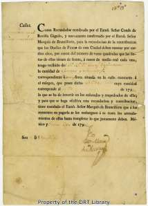 A receipt dated January 30, 1796 showing that Jose de Espinosa paid the required taxes for street improvements.