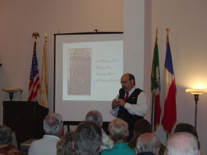 """Dr. Bruce Winders during his talk """"The Power of School Atlases to Decode the Past."""""""