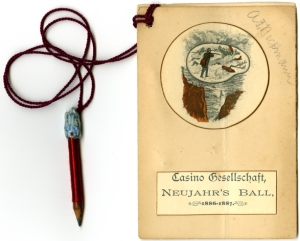 Dance card for the Casino Club's Neujahr's Ball, 1886-1887. The back of the card lists Gustav Groos, Udo Rhodius, and Adolf Schnaith as members of the organizing committee.