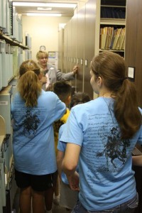 DRT Library Director Leslie Stapleton took campers on a behind-the-scenes tour of the library.