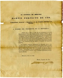 Martin Perfecto de Cos's declaration of July 5, 1835.