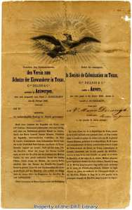 Maria Derungs's contract with the Societe de Colonisation au Texas and Maria Derungs dated June 27, 1847.