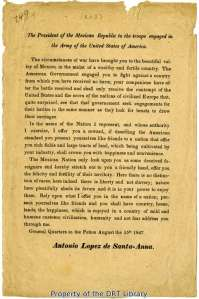 Santa Anna's broadside from August 15, 1847, urging American troops to desert.
