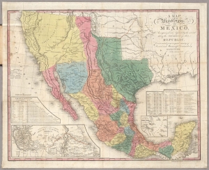 Henry Schenck Tanner's 1847 map of Mexico, which includes the dates of significant battles of the Mexican War and shows the movement of American forces. Tanner's maps were the most detailed and accurate maps of Mexico at that time. (This digital copy is not of the library's copy of the map; it is from the David Rumsey Map Collection.)