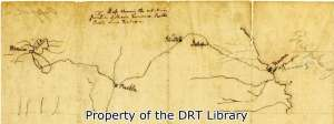 "Detail of a map drawn by Samuel Maverick on the back of his prison release. To the right of this map he wrote, ""Altitude of Mexico and of the Road to Veracruz, drawn from an engraved Map in the City of Mexico."""