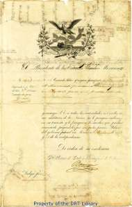 Document releasing Samuel Maverick from Perote prison, March 31, 1843.