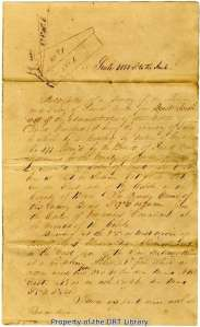 The survey field notes (first page only shown here) taken for land David Crockett received in Bexar County is typical of the metes and bounds method. The surveyor used trees, roads, creeks, and rivers as markers along the property's boundaries.