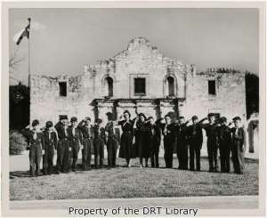 An undated photograph in the Elicson collection of unidentified Cub Scouts in front of the Alamo.