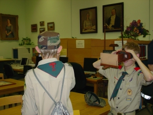 These two Boy Scouts weren't the only visitors who enjoyed viewing three-dimensional images through the library's stereoscopes; kids, and even adults, were fascinated with them, too.