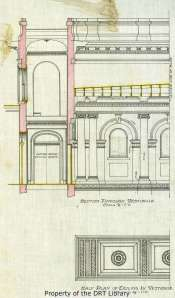 A detail of Dielmann's preliminary drawing of architectural details in the chapel's vestibule.