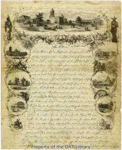 "The first page of Henry Baumberger's letter of October 13, 1856. ""On this here letterhead,"" he told his family and friends, ""you see some views etc. of our City of San Antonio."""